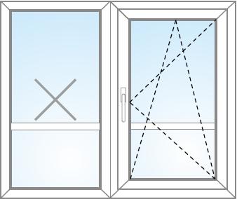 Dvojkrídlové balkónové dvere FIX (v ráme) + otvárateľné