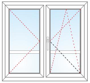 Dvojkrídlové balkónové dvere otvárateľné + otvárateľné/sklopiteľné