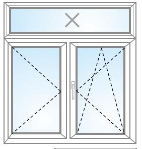 Dvojkrídlové okno otvárateľné + otvárateľné/sklopiteľné + FIX (v krídle) nadsvetlík