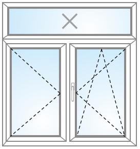 Dvojkrídlové okno otvárateľné + otvárateľné/sklopiteľné + FIX (v ráme) nadsvetlík