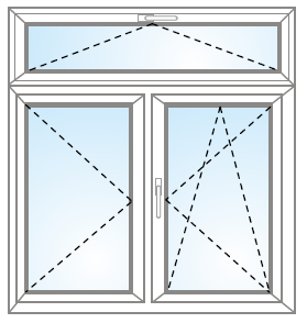 Dvojkrídlové okno otvárateľné + otvárateľné/sklopiteľné + otvárateľný nadsvetlík