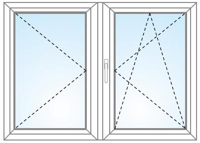 Otvárateľné + Pevný stĺpik + otvárateľné a sklopiteľné okno a balkón