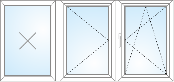 Otvárateľné + Fix v ráme + otvárateľné a sklopiteľné